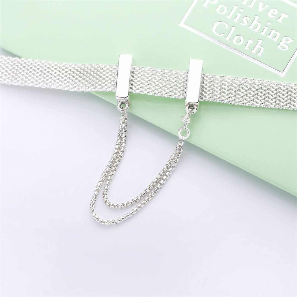 Slovecabin 925 Sterling Silver 2018 New Reflexion Bracelet & Charms Clips Zircon Clear CZ Rose Gold Color Beads Making Jewelry