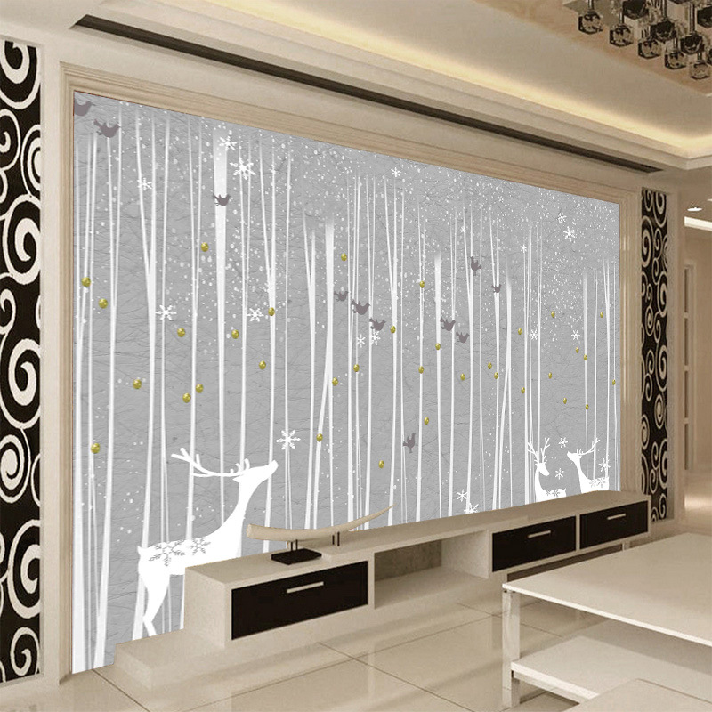 2m wide graffiti murals wallpaper elegant and rustic style hand painted black and white woods elk birds abstract grey painting in Wallpapers from Home Improvement