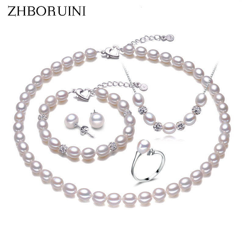 ZHBORUINI Pearl Jewelry Sets Natural Freshwater Pearl Necklace Earrings Ring Bracelet 925 Sterling Silver Jewelry For Women Gift