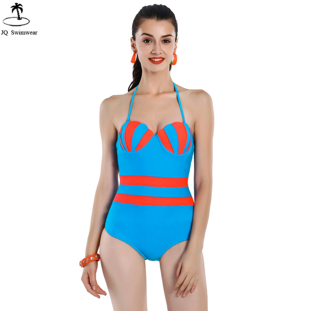 e3521198dd7 2017 Womens Sexy Vintage Retro One Piece Swimsuits Swimwear Patchwork Shell  Shape Push Up Bandage One