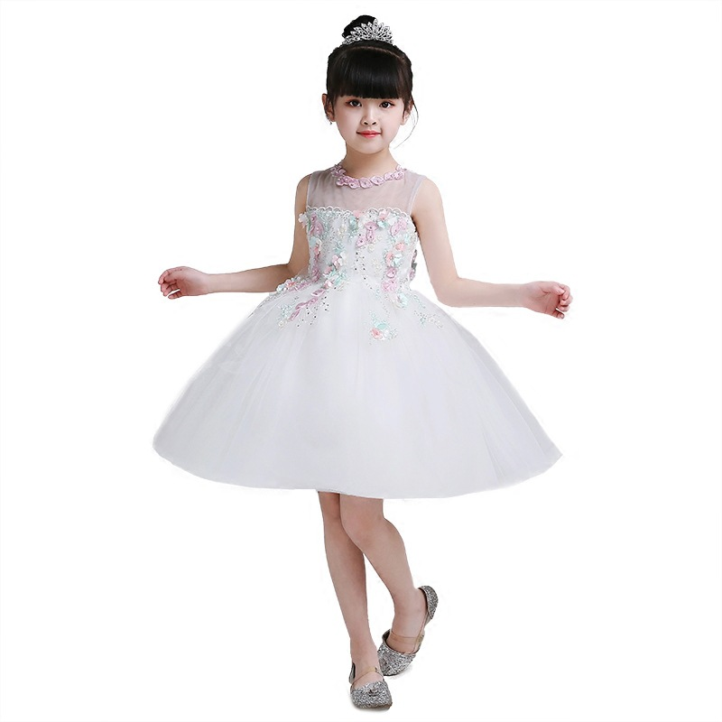 New White Sleeveless   Flower     Girl     Dress   for Wedding Lace Beading Ball Gown   Girls   First Communion   Dress   Custom Made Size