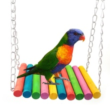 Wooden colorful pet parrot toys bird swing