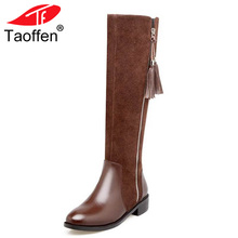 TAOFFEN Genuine Thick Fur Winter Women Boots Zipper Side Knee High With Warm Fur Real Natural Leather Boots Women Size 34-39