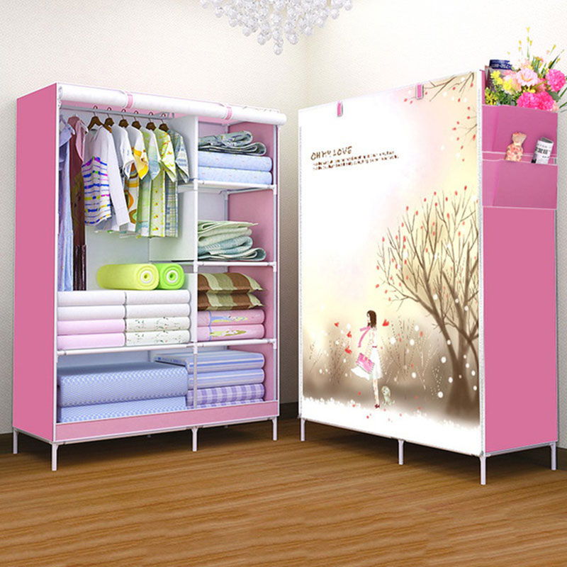 Fashion Modern Folding Cloth Wardrobe Home Bedroom Clothes Toys Sundries Storage Cabinet 3D Assembly Cartoon Closet Furniture