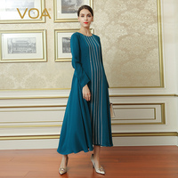 VOA 2017 Fall Fashion Plus Size Brief Solid Cyan Women Maxi Long Dress Chinese Style Simple Heavy Silk A Line Dress ALH00901