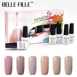 Belle Fille Nude Color UV Gel Varnish 8ML 6pcs/lot Set Gel Nail Polish Set Gellak Gel Lacquer Semi Permanent Nail Art