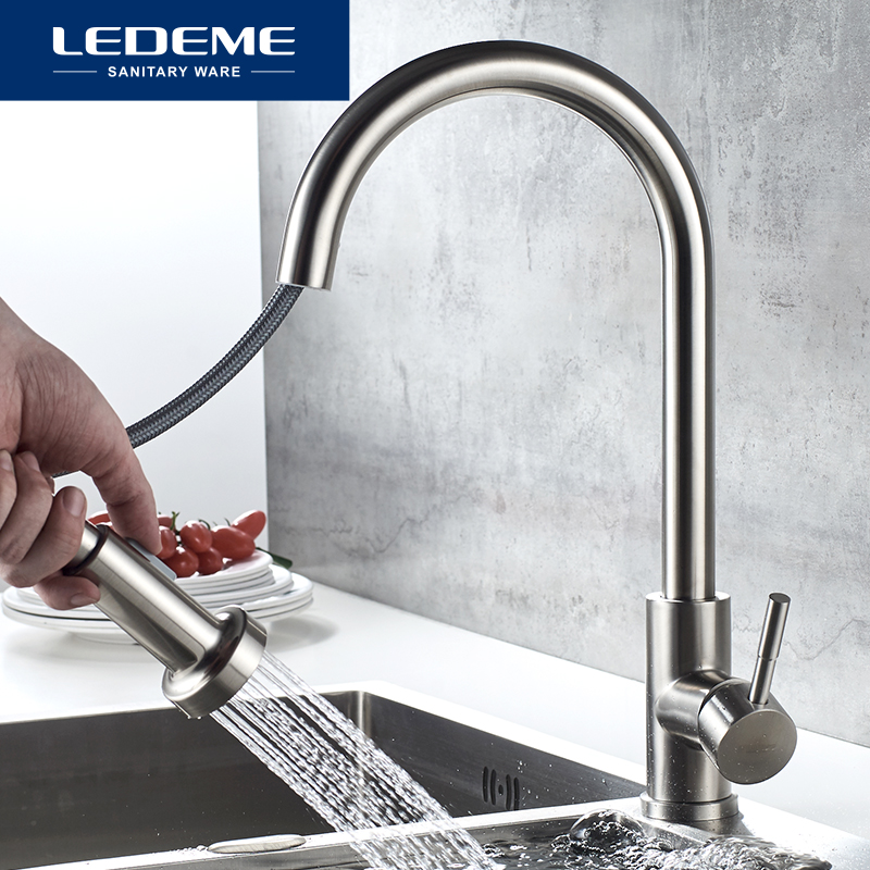 LEDEME Kitchen Faucet 360 Degree Rotation Pull Out Tap Sink Mixer Taps Brushed Stainless Steel Kitchen Faucets L76005-1