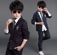 Children's wear boy suit suit, autumn winter flower boy dress, boy's cub coat, children's small suit 2 pieces.