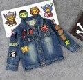 Crianças/Crianças Primavera/Outono Applique Bebê Milo Jas Chaqueta Jaqueta Jeans De Algodão Denim Jaquetas Casacos de Criança Para Meninos/Garcon