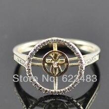 Кольца 10 мм круглая огранка Solid 14 К желтое золото природных алмазов полу крепление установка Свадебные