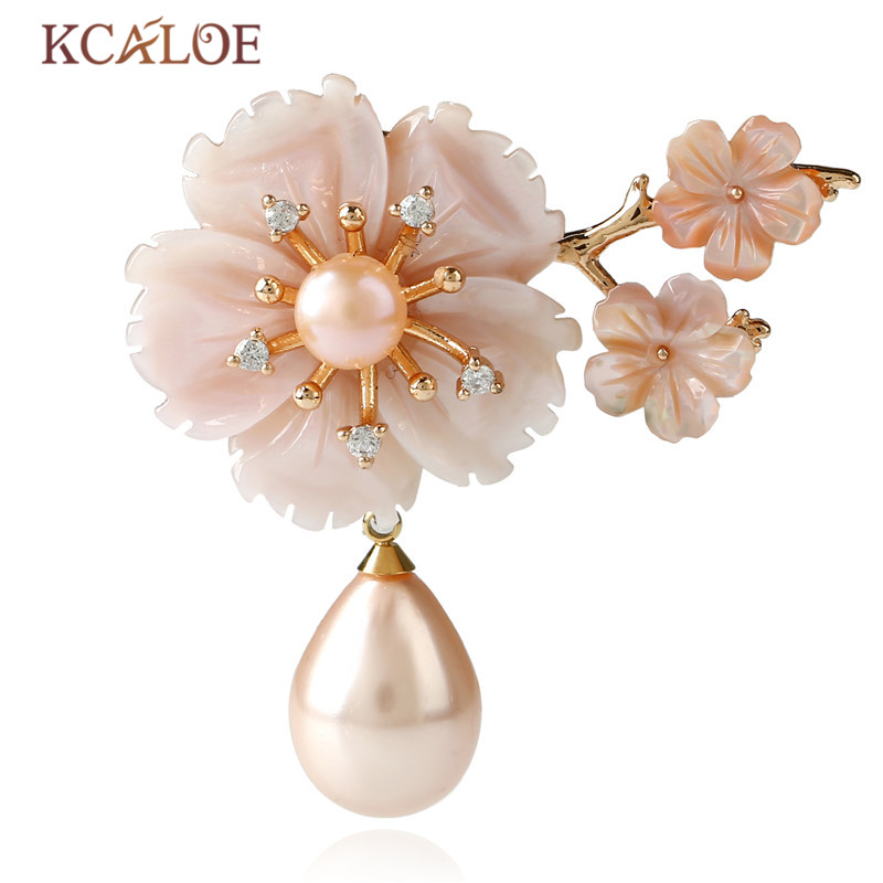 KCALOE Pink Pins And Brooches Gold Color Bouquet Rhinestone Natural Shell Flowers Wedding Brooch Fashion Pearl Women Pin