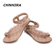Bohemia сандалии для женщин летние туфли женщины флип бисером цветок флип-флоп сандалии 35-39 Белого Цвета Хаки цветок Дешевые Обувь # HR19