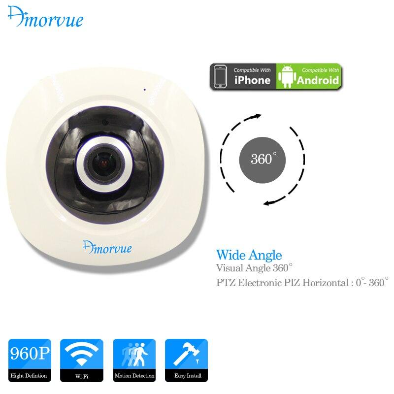 imágenes para Amorvue 960 P Domo IP Inalámbrica Wifi Cámara 360 Panorámica de ojo de Pez cámara 1.3 M 960 P CCTV Visión Nocturna Apoyo TF Tarjeta de Hogar seguridad