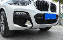 Lapetus ABS Car Styling Chrome Bright Style Front Fog Lights Lamp Under Protection Corner Cover Trim For BMW X3 G01 2018 2019