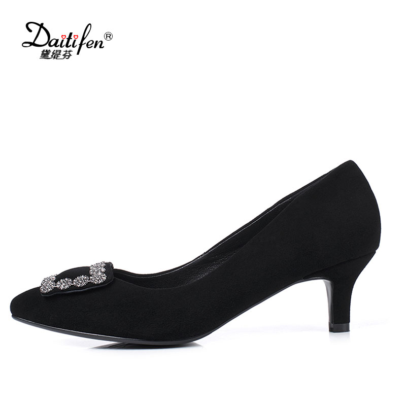 Kid Suede Shoes Women Black Pumps Metal Decoration Thin Med Heels 5 cm Pointed Toe 2017 Spring Summer Lady Dress Shoes Plus Size meotina brand design mules shoes 2017 women flats spring summer pointed toe kid suede flat shoes ladies slides black size 34 39