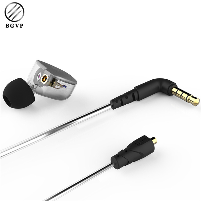 BGVP Professional SGZ-DN1 Sports HIFI Hybrid In Ear Earphones with MMCX Silver Plated Balance Armature With Dynamic Earphones fashion professional in ear earphones light blue black 3 5mm plug 120cm cable