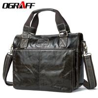 OGRAFF Genuine Leather Men Shoulder Bags Messenger Bag Men Leather Handbags Vintage Men Travel Bags Briefcase