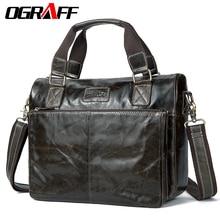 OGRAFF Genuine leather Men shoulder bags messenger bag men leather handbags vintage men travel bags Briefcase Laptop tote Bags