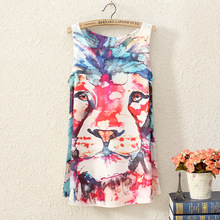 2017 summer women sleeveless t shirt printing Oil Lions people style long section lady t shirt