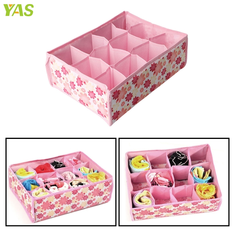 S-home New 12 Grid Storage Box Case Bag Drawer Closet Home Organizer Fr Bra Underwear Socks  jul31