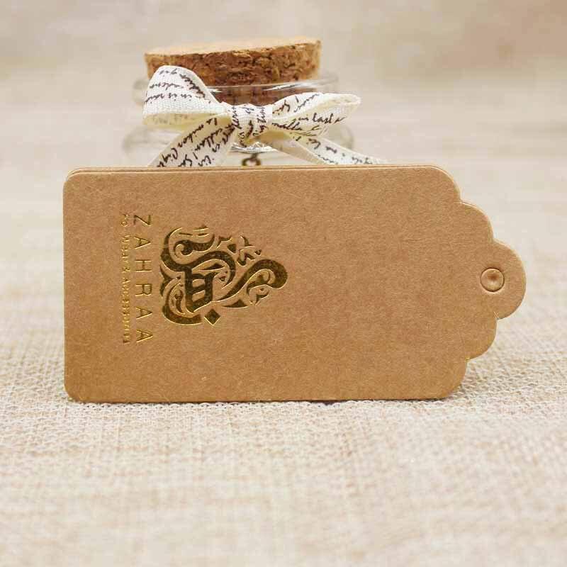 Custom logo kraft paper luggage label tag gold foil print 8*4cm scallop tag for garment/products display tag 1000pcs