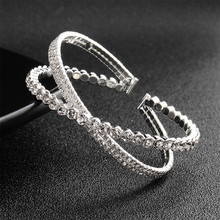 2019 new simple bangles & for womens jewelry  cuff Multilayer Round Knot Metal Bracelet Geometry