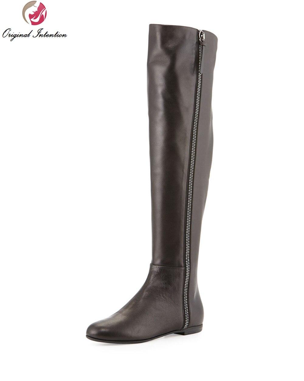 Nouvelle Femmes De Taille Initiale Chaussures Bout Genou Zip Talons Élégant Bottes Vk4811 Rond L'intention Femme À Noir Carrés Du Qualité Plus Haute Hauteur qAE51xX