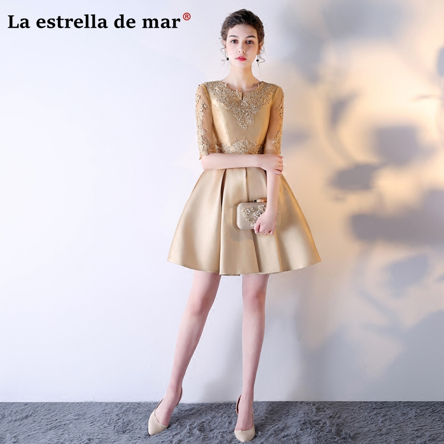 Us 47 2 20 Off La Estrella De Mar Wedding Guest Dress 2019 Sexy V Neck Lace And Satin Half Sleeves A Line Champagne Gold Bridesmaids Dresses In