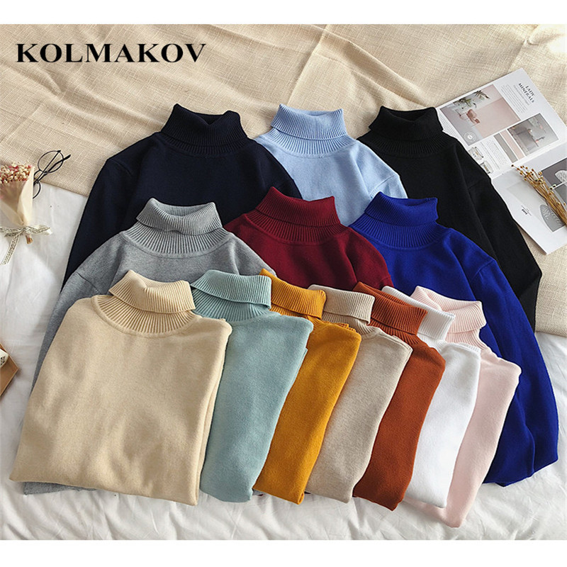 KOLMAKOV New 2019 Men's Sweaters Spring Mens Sweater Turtleneck Knitted Pullovers Homme XXL Hot Sale Soft Thin Wool Men Sweater
