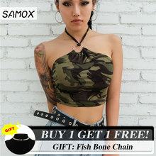 JSMY Women New Sexy Ultra Short Camouflage Hoop Hanging Neck Vest Camisole Summer Top
