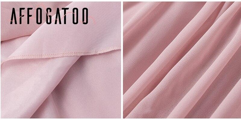 Affogatoo Elegant ruffle off shoulder strap summer pink dress women Casual chiffon pleated blue dress Loose holiday short dress 13