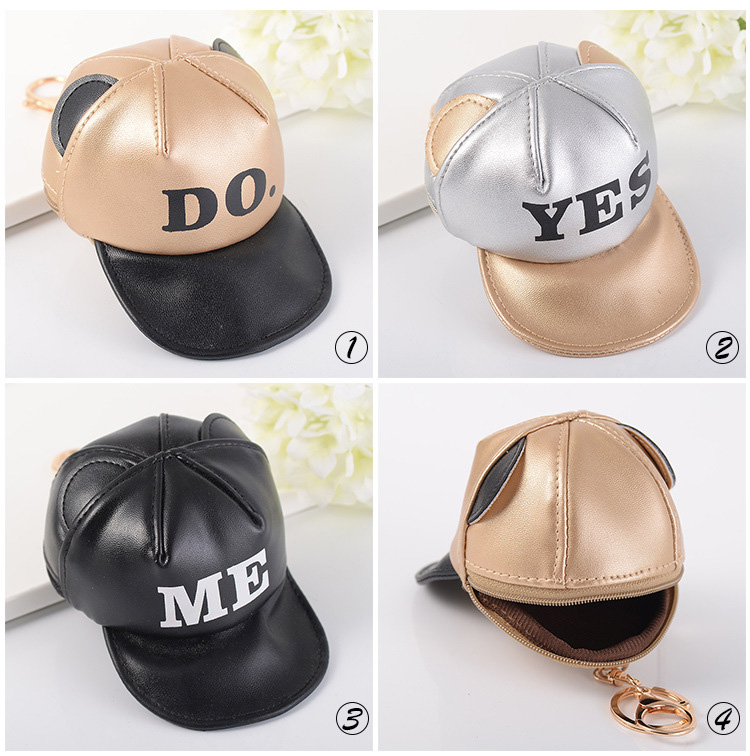 Composite Bats 3 Color Leather Mini Baseball Cap Hat Keychain Coin Purse Key Chain Car Trinket Bag Charm Accessories Handbag Keyring Jewelry