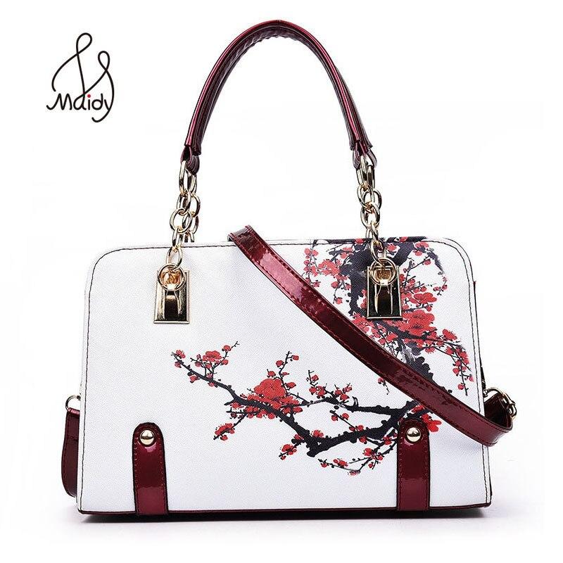 801f14b82 الوطنية الصينية نمط حقائب جلدية براءات حقيبة حمل بولسا حقائب الموضة الزهور  السيدات الطباعة النساء الإناث