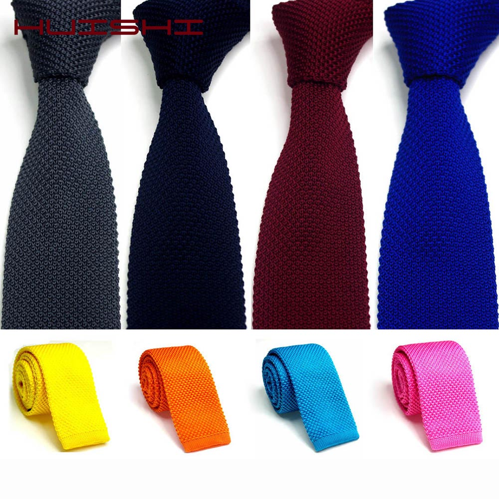 HUISHI Men's Tie Knitted Yellow Green Navy Blue Black Knitted Necktie For Men Narrow Slim Skinny Knit Necktie Cravate 5.5cm Ties