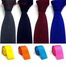 Галстук HUISHI мужской вязаный желтый зеленый темно-синий черный вязаный галстук для мужчин узкие тонкий тощий трикотажные галстуки Cravate 5.5 см