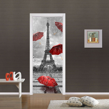 3D France Tower Poster PVC Waterproof Entire Door Sticker Creative Stickers Door Wall Sticker DIY Mural Bedroom Home Decor