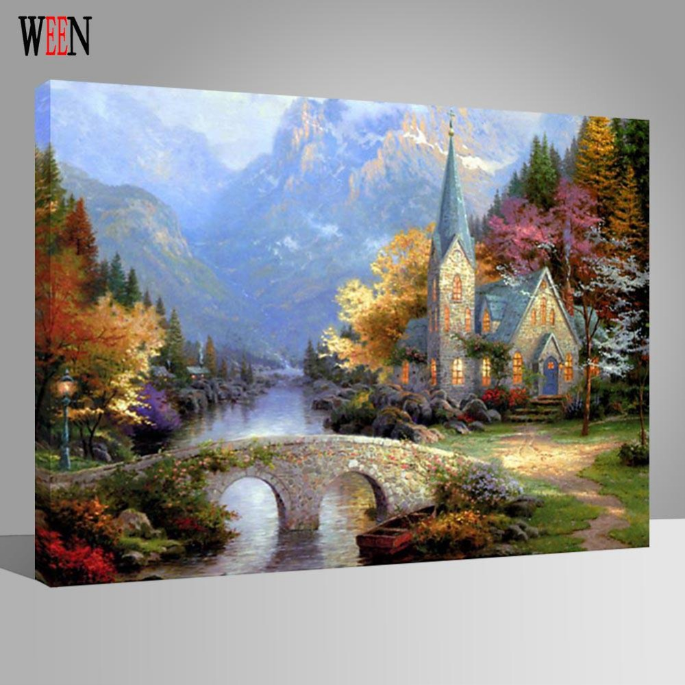 WEEN Castle Bridge Painting By Numbers DIY Handpainted oil Wall Pictures For Home Art Decor On Canvas Poster Coloring by Number in Painting Calligraphy from Home Garden