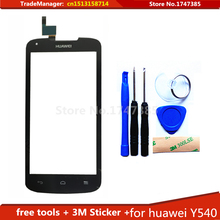Tools+ 3M Sticker + Original Touch Screen For Huawei Ascend Y540 Glass sensor touch screen digitizer Black Free Shipping