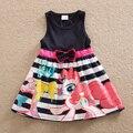 Sem mangas menina pony bao li vestido estilo quente de verão 2017 vestindo o vestido de algodão impressão menina gola redonda da menina do algodão SH5698