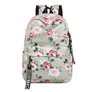 Image 3 - 패션 방수 나일론 여성 배낭 꽃 인쇄 여성 학교 배낭 소녀 일일 대학 노트북 가방