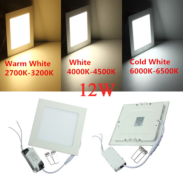 Ultra thin design led ceiling light recessed square led panel light 12w