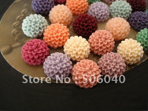fashion 15mm resin flower cabochons for jewelry DIY Handmade Accessories Resin Lucite mixed colors