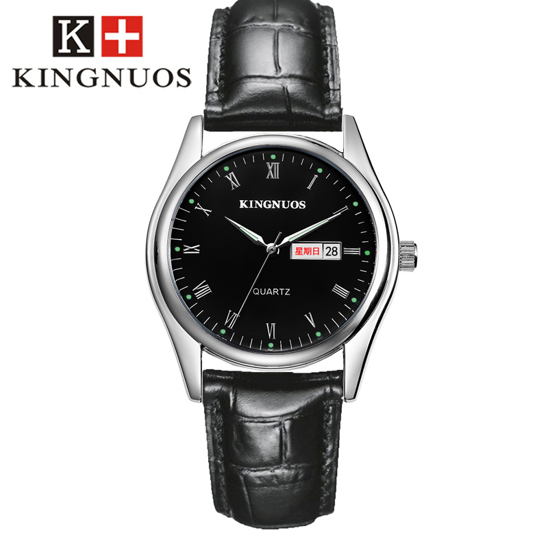 KINGNUOS Fashion Casual Mens Women Wristwatch Roman Numerals Auto Date Couple Watches Leather Strap Quartz Simple Lovers Watch