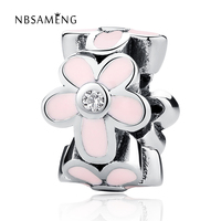 Authentic 925 Sterling Silver Bead Flower With Pink Glaze Round Beads Charm Fit Pandora Bracelet & Bangle DIY Jewelry