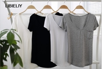 Plus Size Women Casual Solid Nice Summer T Shirts Solid Short Sleeve Casual Shirts V Neck Top Modal S 4XL