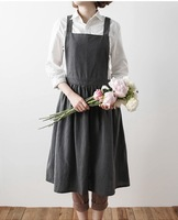 2017 New Aprons Simple Washed Cotton Uniform Unisex Adult Aprons For Woman Lady S Kitchen Cooking