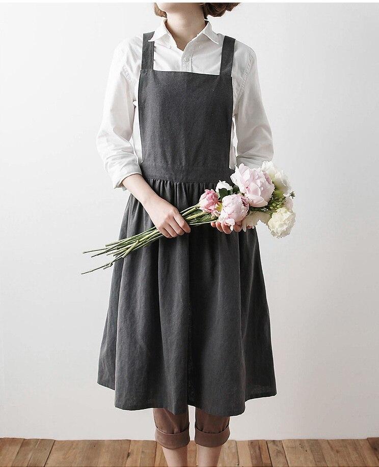 2017 Nuevo Delantales simple algodón lavado uniforme unisex adulto Delantales para mujer señora cocina jardinería Cafetería