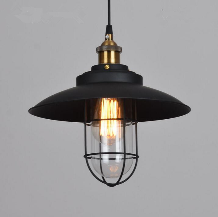 Loft American Bedroom Restaurant Glass Cover Chandelier Vintage Industrial Wind Bar Stair Iron LED Lights Free Shipping