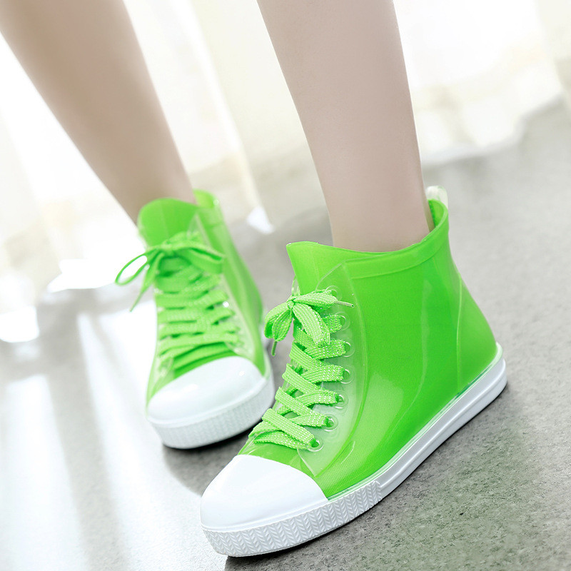 2016 Lace-Up Rain Boots Fashion Solid Ladies Flats Ankle Boots Casual Silver Women Boots Shoes Woman 4 Colors Size 35-40