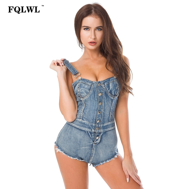 4ab9c30ea4 FQLWL Summer Bandage High Cut Jeans Denim Women Jumpsuits Rompers Bodycon  Lace-up Bodysuit Tight Washed Denim Overalls Female